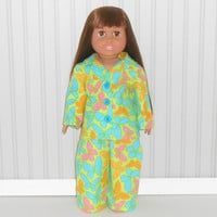 18 inch Girl Doll Green Flannel Pajamas with Butterflies American Doll Clothes