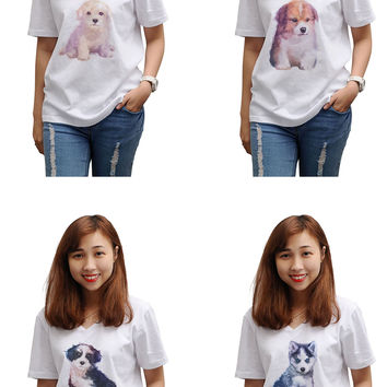 Women Dog hand painted watercolor Printed T-shirt WTS_16