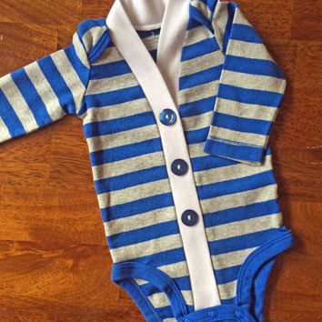 Baby Cardigan One Piece, Blue and Gray Striped Infant Cardigan, Baby Boy, Child Cardigan, Long Sleeve Cardigan, Baby Shower Gift