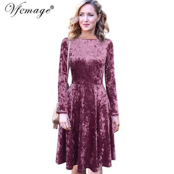 Vfemage Women Autumn Winter Elegant Long Sleeve Velvet Vintage Work Party Evening Pleated Swing Fit and Flare A Line Dress 8341