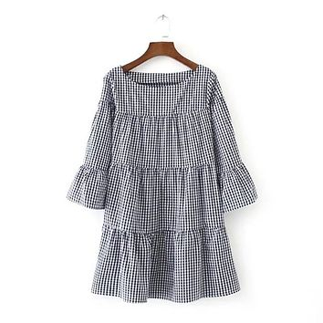 Summer Elegant Checkered Flare Sleeve Loose Casual Sweet Dresses Women Oversized Pleated Plaid Dress Vestidos Red/Blue