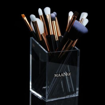 Transparent Mermaid Makeup Brush Holder Acrylic Makeup Brush Set Case Makeup Brushes Organizer Container Cup Organizer