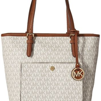Michael Kors Women's Jet Set Medium Top-Zip Snap Pocket Tote Bag