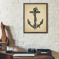 Vintage Anchor Printable, Anchor Wall Art, Beach House Decor, Nautical Wall Art, Seaside decor, Anchor and Rope Printable Illustration