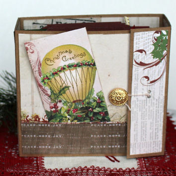 Premade Vintage style Christmas Scrapbook Album Vintage Victorian Christmas Mini Album Memory Album 5.5  x 5