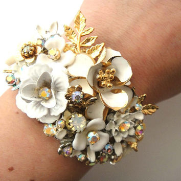 Best bracelet corsages for weddings products on wanelo bridal cuff bracelet wedding jewelry in ivory white and gold mightylinksfo