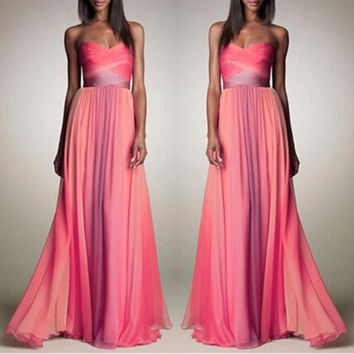 Wrap Gradient Shaped Sexy Prom Dress Hot Sale One Piece Dress [4919141764]