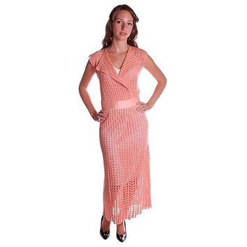 Vintage Peach Crocheted Knit Day Dress 1930s Size 6-8