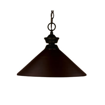 Z-Lite 100701BRZ-MBRZ Shooter One-Light Bronze Dome Pendant with Angled Bronze Metal Shade