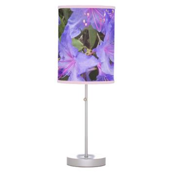 Purple Rhododendrons Floral Table Lamp