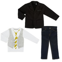 Calvin Klein Boys' 3 Piece White/Black Playwear Set with Long Sleeve Vest Graphic Top, Blazer and Jeans