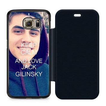Keep Calm and Love Jack Gilinsky Leather Wallet Flip Case Samsung Galaxy S6