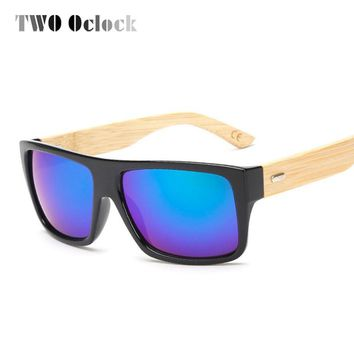 TWO Oclock Natural Bamboo Wood Sunglasses Men Women Mirrored Coating Sun Glasses Square Sport Shades Driving Surfi Goggles Oculo