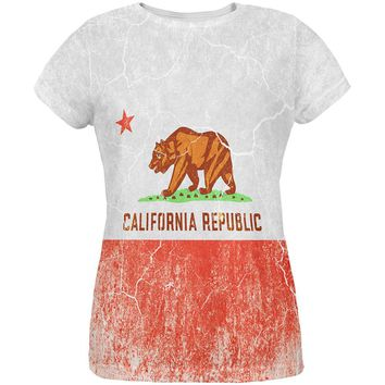 California Vintage Distressed State Flag All Over Womens T Shirt
