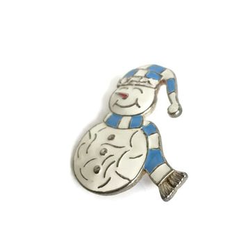 Enameled Snowman Christmas Brooch, Enamel Holiday Snowman Pin, Vintage Christmas Gift for Teacher, Winter Jewelry