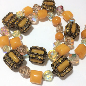 Butterscotch Lucite Bead Necklace Wrapped Amber Rhinestones Copper Seed Beads Aurora Borealis Glass Gold Tone Clasp Mid Century Jewelry 418