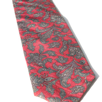 "Vintage Silk Tie, J.S. Blank Cotswold Collection Tie, Hand Made Tie, 59"" x 3.5"",Red & Grey Tie, MADE IN USA,Vintage Necktie,Vintage Menswear"