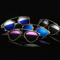The cat's eye metal frame sunglasses reflecting mirror couples and women polarized sunglasses = 1706052164