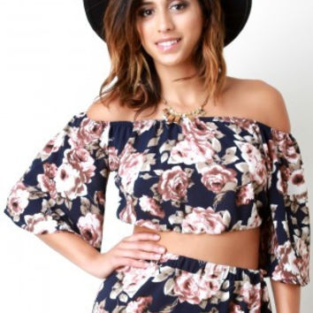Textured Floral Print Bell Sleeves Bardot Top