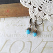 POOL petite turquoise drop earrings antique brass by brideblu