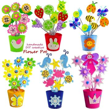DIY Felt Fabric Handmade Flower Pot,Crafts & Sewing Non-woven Arts Handicraft Material Kids Creative Educational Toys for Girl
