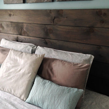 Handmade, Rustic, Made to order, Stained, Wood Headboard -Choose your color and size