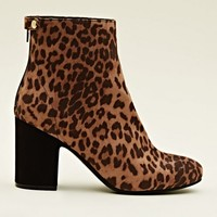 Tan Leopard Print Block Heel Ankle Boots | New Look