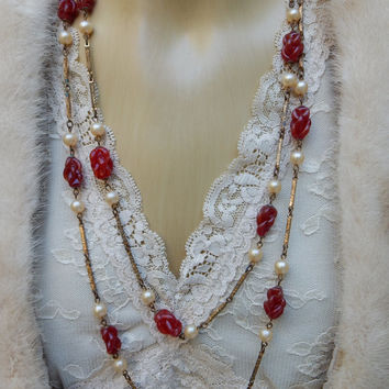 Art Deco Jewelry,Long Artisan Bead Necklace, Antique Pearl Molded Red Glass Bead,Gatsby Jewelry,Brass Links,Flapper Necklace,1920s Gibson