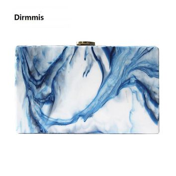 Woman new wallet 2018 fashion vintage elegant acrylic handbag small lady party Clutch landscape print casual Prom evening Bag
