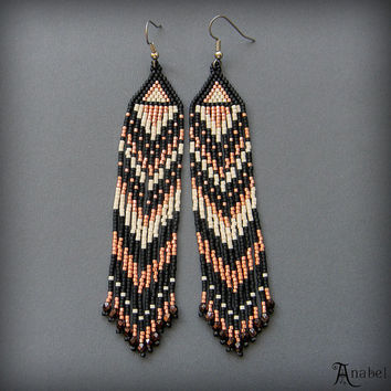 Long dangle earrings - Black & Copper Beaded Earrings - Seed Bead Jewelry