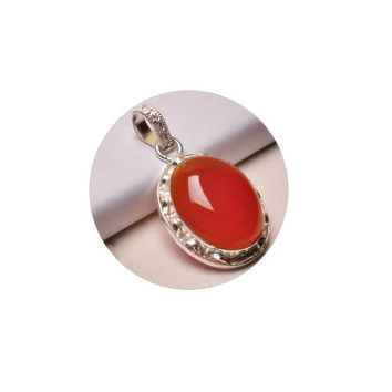 Red Onyx Pendant  ,  Sterling Silver Pendant , Oval  Red Onyx Pendant