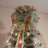 Large Lime Green stripe with sheer red middle and silver edging Ribbon  with coordinating silver mesh ribbon Christmas Tree topper bow