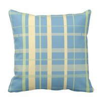 Plaid Pattern, Blue and Yellow Throw Pillow