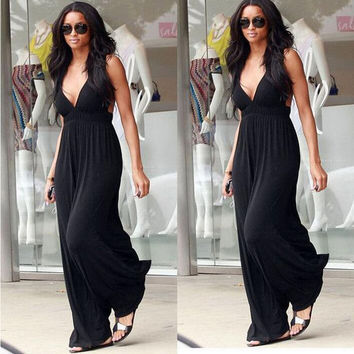 Black Deep V-Neck Halter neck Backless Maxi Dress