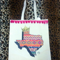Texas pompom tote from PeaceLove&Jewels