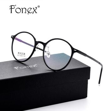 FONEX Ultralight Design Women Vintage Round Glasses Frame
