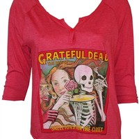 Grateful Dead Skeletons From The Closet Women's Henley Shirt by Junk Food for sale from OldSchoolTees.com | More Dead and other vintage band shirt to choose from at OldSchoolTees.com