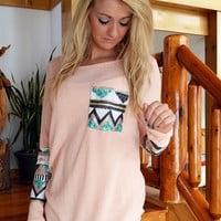 Peach Aztec Sequin Top