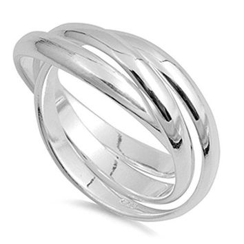 Triple 3mm Rolling Wedding Ring New 925 Sterling Silver Stacked Band Sizes 413