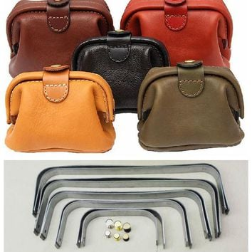 Free Shipment  tutorial DIY handmade leather metal parts 12cm-30 cm wide doctor bag mouth metal frame bag frame 19*7.5cm
