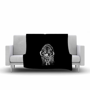 "BarmalisiRTB ""Stare"" Black White Fleece Throw Blanket"