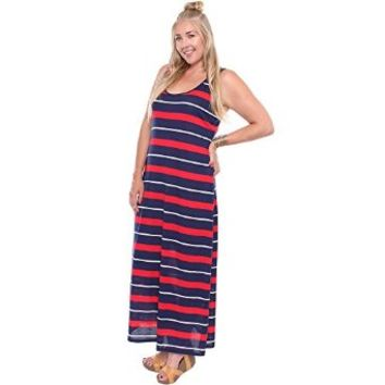 Plus Size Red White Blue Striped Maxi Dress 63263-13XL