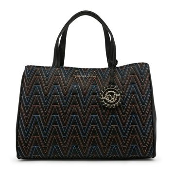 Versace Black Two Handles Leather Handbag