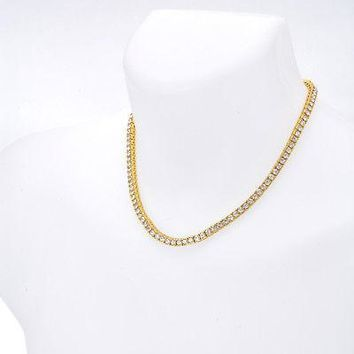 "Jewelry Kay style Men's Fashion Iced Out 4 mm 18"" 14K Gold Plated Stone Tennis Chain Necklace"