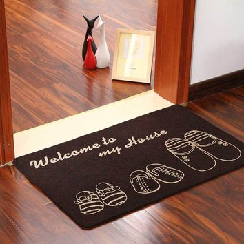 Autumn Fall welcome door mat doormat 60*40cm Anti-skid Welcome Entrance s Water Absorption Shoes Pattern  Carpets Balcony Bathroom Rugs Home Decor AT_76_7