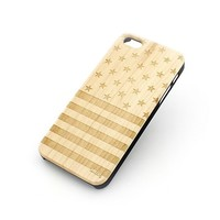 W66 Wood Case for APPLE IPHONE 4/4S, 5/5S, 5C Cover STARS and STRIPES
