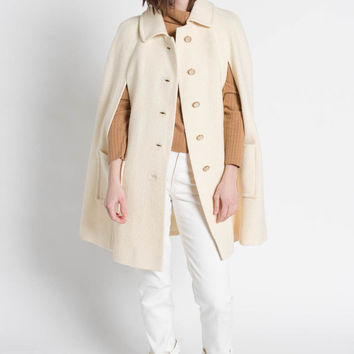 Vintage 60s Ivory White Wool Button Up Cape Coat | S/M/L