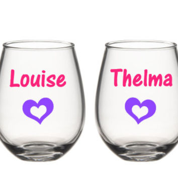 Thelma And Louise Wine Glasses, Best Friend Wine Glass Set,