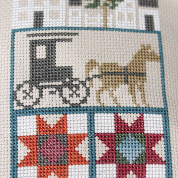 Completed Cross Stitch Primitive Amish Home Buggy Quilt Pillow Rustic Country Decor
