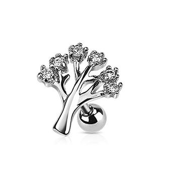 Tree of Life Cartilage Tragus Barbell Piercing Monroe Labret Lip Helix Ring 14g (Clear)